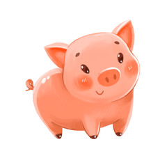 Cute pig. Can be used as a symbol of the New Year or Piggy Bank