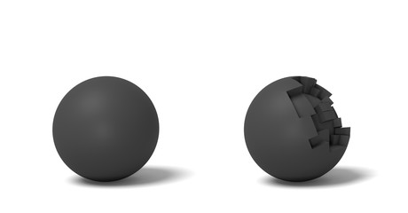 3d rendering of two isolated black round balls standing near each other, one whole and another half-broken.