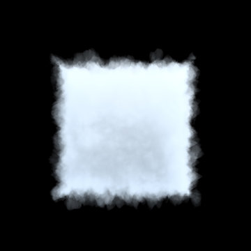 3d rendering of a white bulky cumulus cloud in shape of square on a black background.