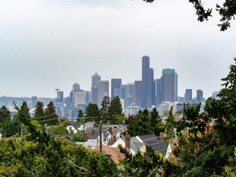 Skyline of Seattle from residential neighborhood on overcast day