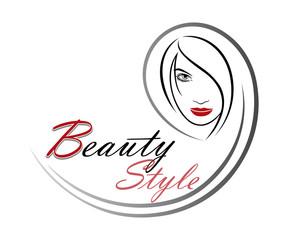 Beautiful woman vector logo template for hair salon, beauty saloon, cosmetic procedures, spa center. Vector logo template for hair salon