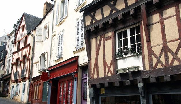 Ville de Laval, maisons à colombages du centre historique de la ville, département de la Mayenne, France