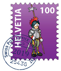 Swiss stamp collection: The Vatican guard