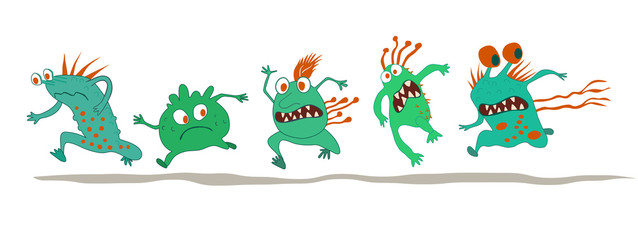 Running crazy monsters on white background. Bacterium extermination. Hand drawn vector illustration