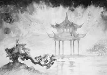Chinese, Japanese ink painting, weather, nature, landscape, bonsai, Feng Shui. rainy day.