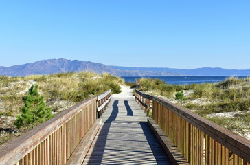 Beach with boardwalk and vegetation in sand dunes. Small mountain and blue sea, clear sky. Sunny day, Galicia, Spain.