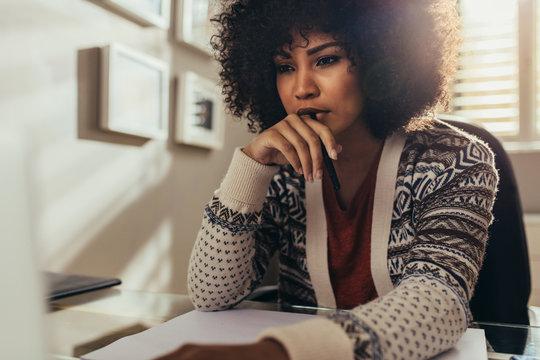 Female architect thinking on new ideas