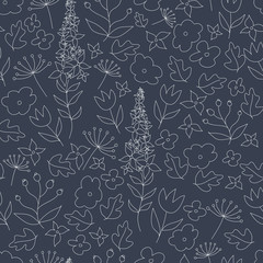 Doodle floral background. Seamless pattern with flowers and leaves. Vintage ornament.
