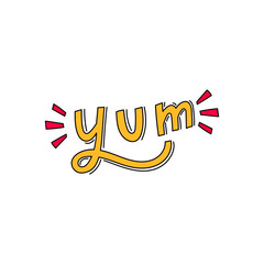 Yum hand drawn lettering word for sticker, print, decor. Modern typography.