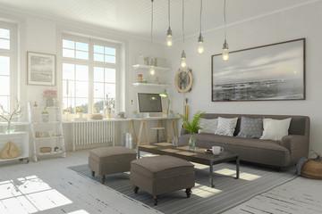 Skandinavische, nordische Wohnung - Wohnzimmer
