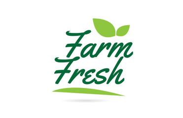 green leaf Farm Fresh hand written word text for typography logo design