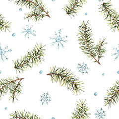 Winter Watercolor Christmas seamless pattern with Tree Branches and snowflakes.