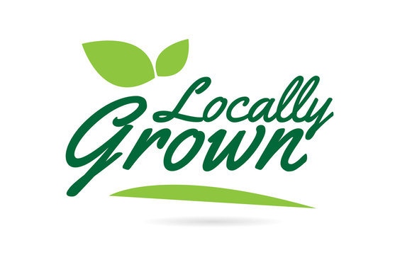 green leaf Locally Grown hand written word text for typography logo design