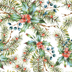 Watercolor Christmas vintage floral seamless pattern, New year decoration with pine branches, holly, berries