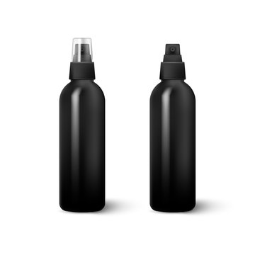 Realistic Cosmetic bottle can sprayer container isolated on white background. Vector illustration.