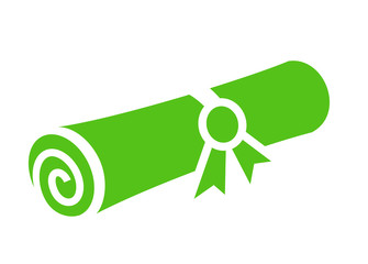 Green rolled paper certificate