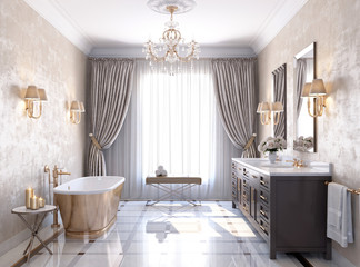 Classic luxury bathroom with marble floor