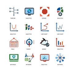 16 icons related to Network, Analytics, Antivirus, Timeline, Table, Line chart, undefined, undefined signs. Vector illustration isolated on white background.