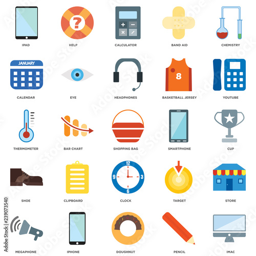 25 icons related to Imac, Pencil, Doughnut, Iphone, Megaphone