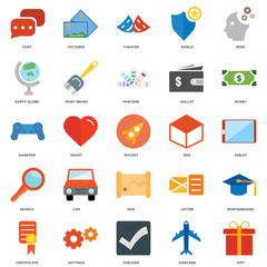 25 icons related to Gift, Airplane, Checked, Settings, Certificate, Money, Box, Map, Search, Earth globe, Theater, Pictures signs. Vector illustration isolated on white background.