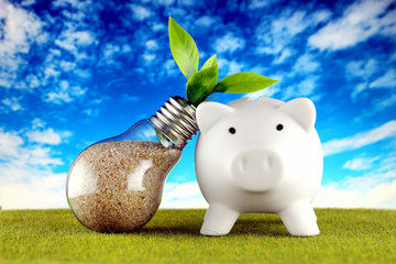 Piggy bank and plant growing inside the light bulb with grass and blue sky background. Green eco energy concept. Electricity prices, energy saving.