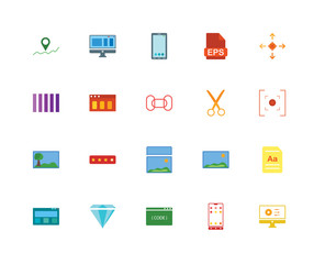 20 icons related to Editor, Smartphone, Coding, Diamond, Browser, Allocation, Scissors, Image, Smartphone signs. Vector illustration isolated on white background.
