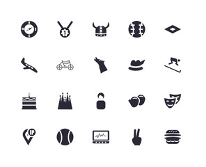 20 icons related to Number one medal, Two fingers up, Rhombus, Tennis Sport ball, IP address point locator, Comedy mask, Racing bike signs. Vector illustration isolated on white background.