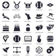 25 icons related to CD Record, Comedy mask, Skiing down hill, Number one medal, Paper bird, Racing bike, Two fingers up, Cake with One Candle signs. Vector illustration isolated on white background.