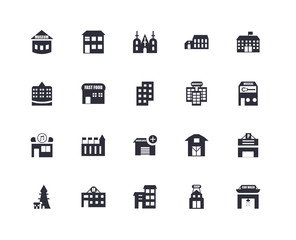 20 icons related to Car wash, Shop, House, Motel, Lighthouse, School, University, Ambulance, Music, Bistro, Church signs. Vector illustration isolated on white background.