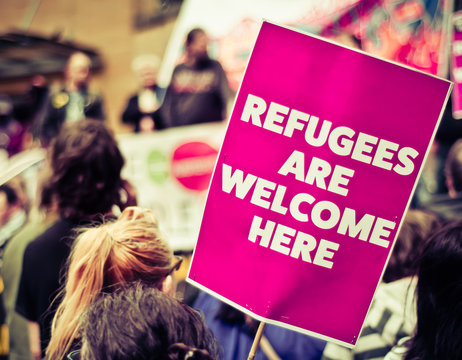 Refugees Are Welcome Street Protestors