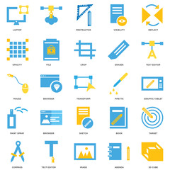 25 icons related to 3d cube, Agenda, Image, Text editor, Compass, Pipette, Sketch, Paint spray, Opacity, Protractor, signs. Vector illustration isolated on white background.
