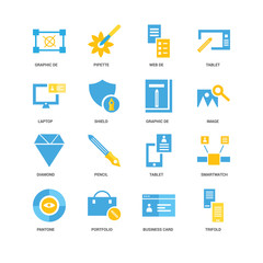 16 icons related to Trifold, Shield, Graphic de, undefined, Smartwatch, Pencil, Pipette signs. Vector illustration isolated on white background.