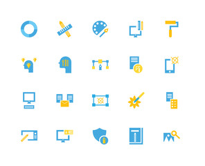20 icons related to Image, Graphic de, Shield, Laptop, Tablet, Paint roller, Sketch, Creativity, palette signs. Vector illustration isolated on white background.