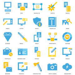 25 icons related to Brainstorm, Photo camera, Construction, Monitor, Browser, Image, Smartwatch, Trifold, Portfolio, Tablet, Graphic de, Tags signs. Vector illustration isolated on white background.