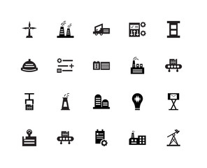 20 icons related to Pumpjack, Factory, Clipboard, Conveyor, Weight, Oil, Tanks, Package, Mechanism, Forklift signs. Vector illustration isolated on white background.