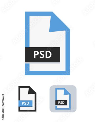 Psd file flat vector icon  Symbol of PSD file for lossless