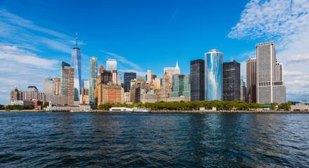 Manhattan panoramic skyline view. New York City, USA. Office buildings and skyscrapers at Lower Manhattan (Downtown Manhattan)..