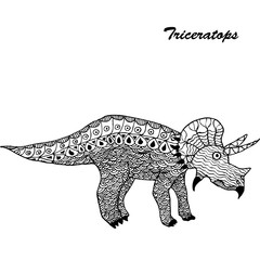 Pterodactyl - prehistoric monster. Antistress Coloring Book for adults.