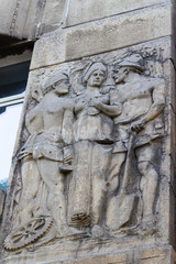 The bas-reliefs of the sculptor Paolini 1911-1912 with Masonic symbols of free stonemasters, such as sickle, hammer, shovel. Sculpture woman brings lunch to workers