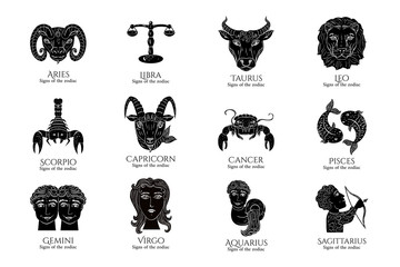 Vector Set Signs of the zodiac. Symbol hand draw All Horoscope black and white