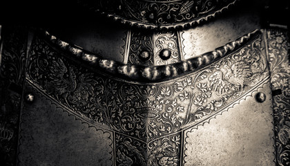 Tuinposter Paarden Medieval Armor Detail