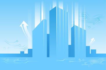 vector abstract illustration of business centers, buildings in flat style