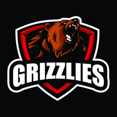 Grizzly mascot logo sport
