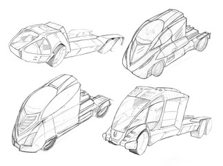 Black and white pencil concept art drawing of set of futuristic or sci-fi automotive truck designs.