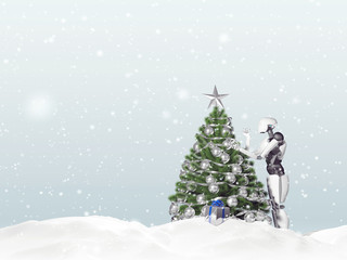 Fotobehang Lichtblauw 3D rendering of artificial intelligence robot decorating a Christmas tree on a snowy day. Gift boxes can be seen.