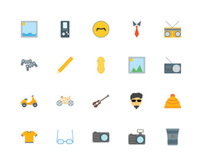 20 icons related to Coffee cup, Photo camera, Sunglasses, Shirt, Radio, Picture, Guitar, Vespa, Pencil, Mustache signs. Vector illustration isolated on white background.