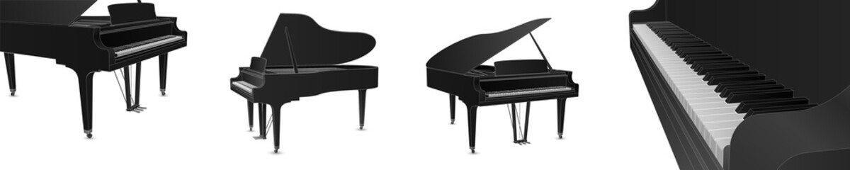 Beautiful realistic detailed grand piano vector set in black color with white outlines.