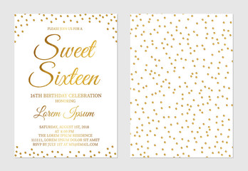 Gold glitter confetti Sweet Sixteen invitation card front and back side. Golden polka dots girl's 16th birthday party invite flyer.
