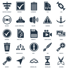 Set Of 25 icons such as Scissors, Hourglass, Broken link, Cursor, Search, Anchor, Video player, Info, Trash, Record, Clipboard, Checked icon