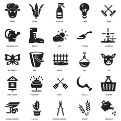 Set Of 25 icons such as Sprinkle, Wheat, Pruning shears, Cactus, Wheelbarrow, Windmill, Pot, Fork, Bird house, Watering can, Sprayer, Corn icon